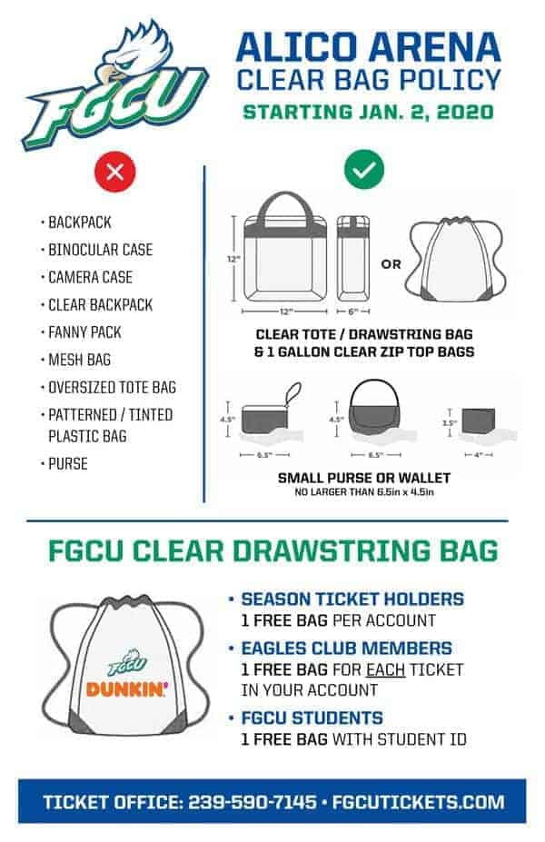 Alico Arena Clear Bag Policy Starts Jan. 2, 2020